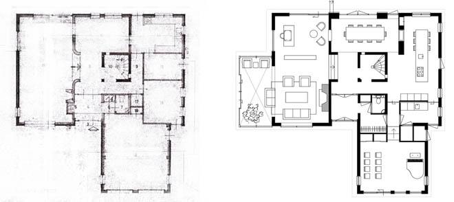 Complete upgrading van een jaren 39 70 villa modern rieten for Plattegrond woning