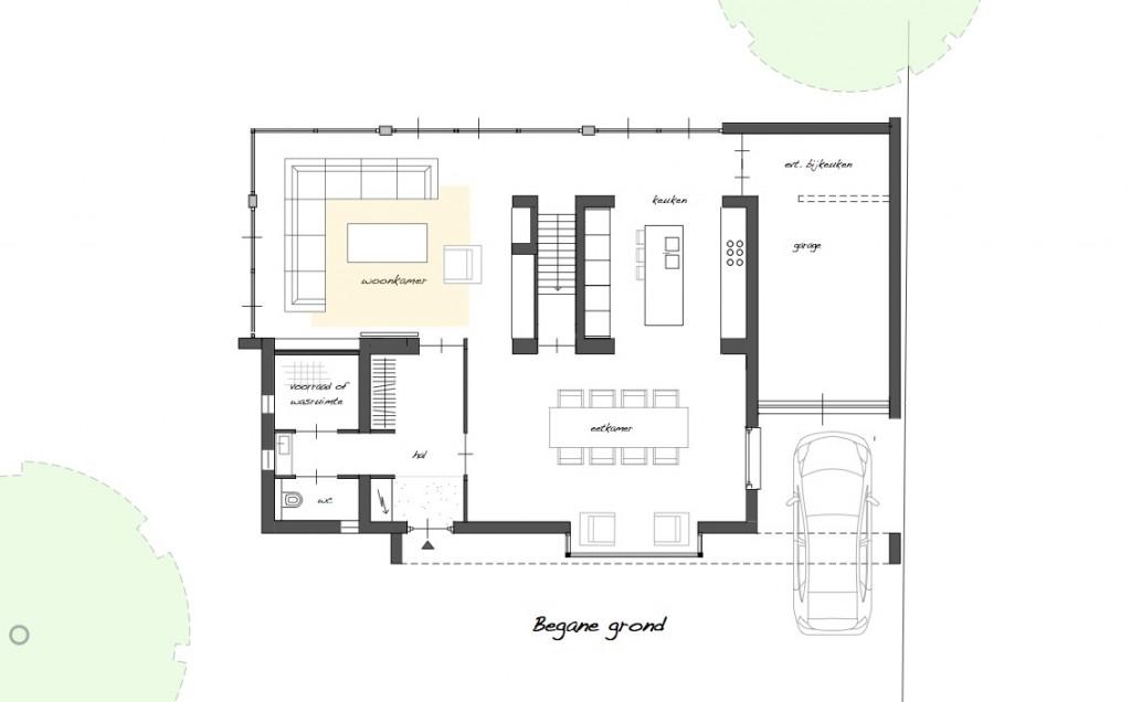 Ontwerp voor renovatie en uitbreiding van vrijstaande for Plattegrond woning