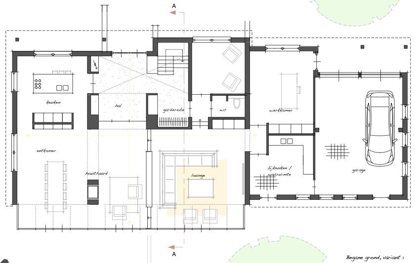 Ontwerp verbouwing villa aan de mazairaclaan te rosmalen for Ontwerp plattegrond
