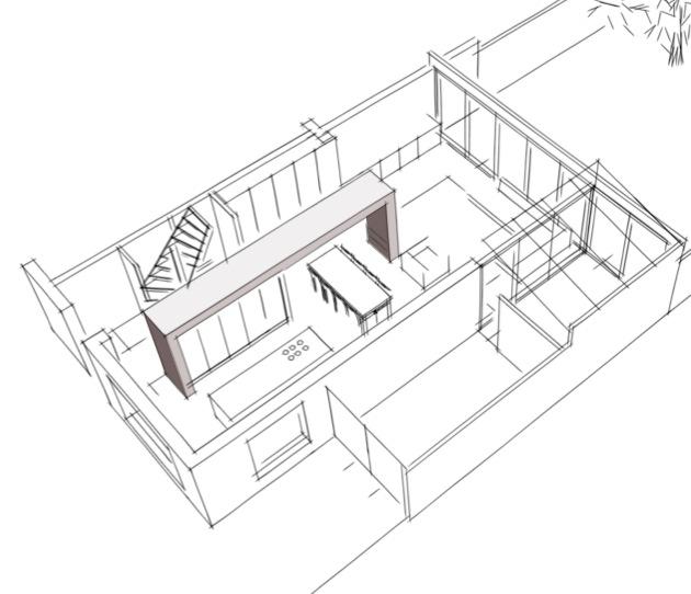 Uitbouw woning vergroting woonkamer en keuken van een for Kamer 3d tekenen