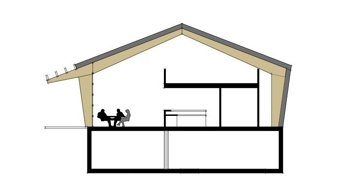 Paviljoen met volledig te openen gevel bestaande uit beglaasde overheaddeuren dingemans - Scheiding houten ...