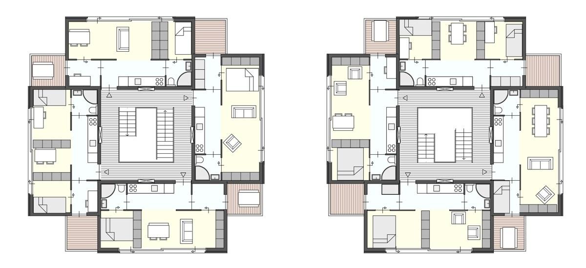 Stapelbare prefab studio 39 s 36 vierkante meter dingemans architectuur horeca - Een klein appartement ontwikkelen ...