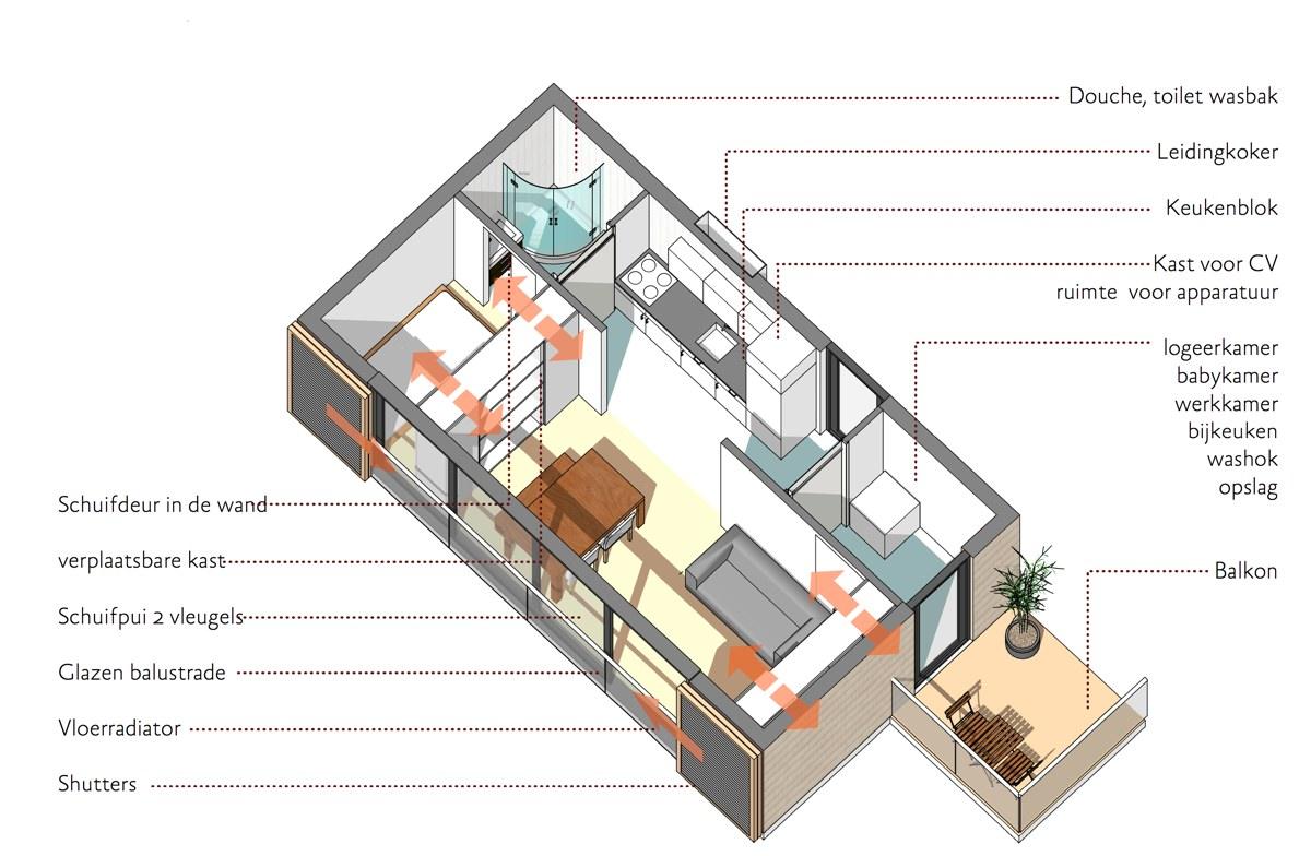 Stapelbare prefab studio 39 s 36 vierkante meter dingemans - Studio indeling ...
