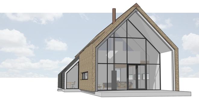 Ruwbouw afbouw woning met rieten kap en rieten gevel in for Bouwkosten huis