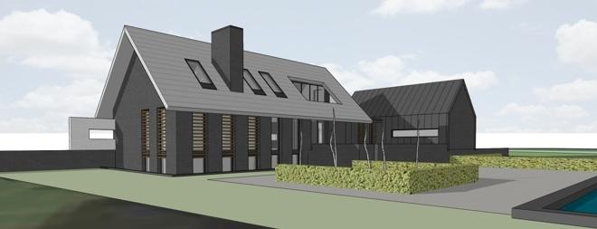 Villa in het buitengebied bij diessen dingemans architectuur horeca bedrijfsrestaurants - Daken en volumes ...