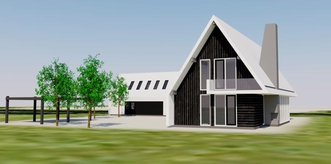 Houten post beam villa met bijgebouw op texel dingemans architectuur horeca - Huis architect hout ...